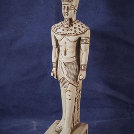 OMEN Standing Amun-Ra Statue in White Finish - Made in Egypt at 8.5 Inches High