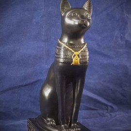 OMEN Medium Large Cat Bast Statue with Gold Scarab, Black Finish