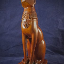 OMEN Large Cat Bast Statue, Wood Finish