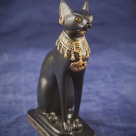 OMEN Small Bast Cat, Gold and Black Finish