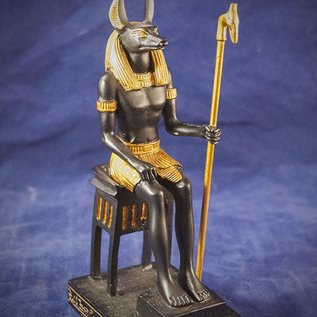 OMEN Sitting Anubis Statue in Black and Gold Finish - Made in Egypt at 6.5 Inches High