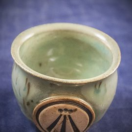 OMEN Little Cauldron Pot in Green with Awen Symbol