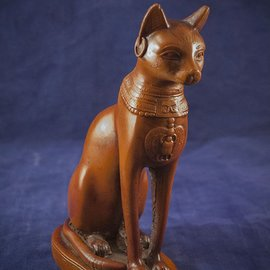 OMEN Bast Cat Goddess Statue in Orange Finish - Made in Egypt at 7.25 Inches High