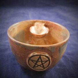 OMEN Altar Bowl in Tiger's Eye with Pentagram
