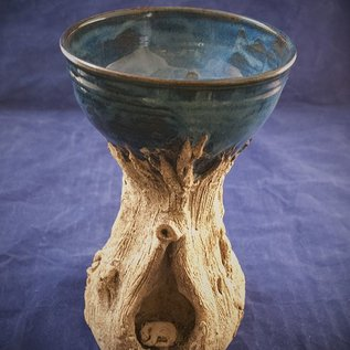 OMEN Pedestal Bowl in Blue with Bear