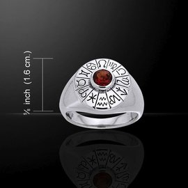 OMEN Astrologer's Gemstone Ring with Garnet