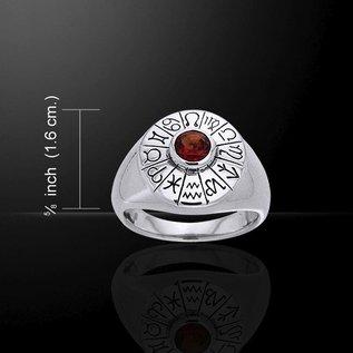 OMEN Astrologer's Gemstone Ring with Garnet