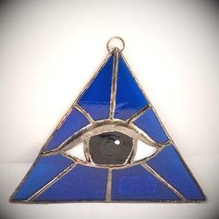 OMEN Blue Triangle with Amber Eye Suncatcher