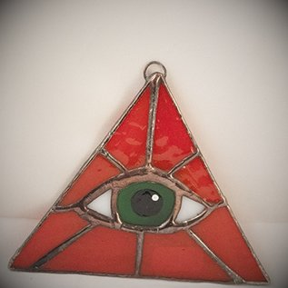 OMEN Red Triangle with Green Eye Suncatcher