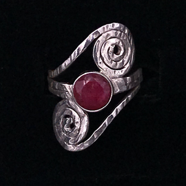 OMEN Ruby Hammered Spiral Ring