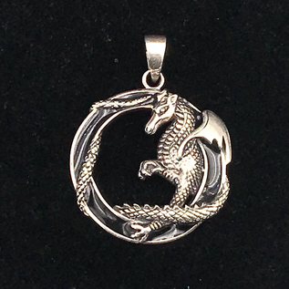 OMEN Highly Detailed Dragon in Black Enamel Circle
