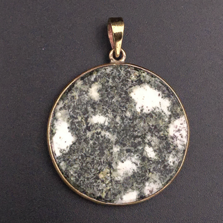OMEN Round Polished Preseli Bluestone Hengestone Pendant set in Solid Bronze