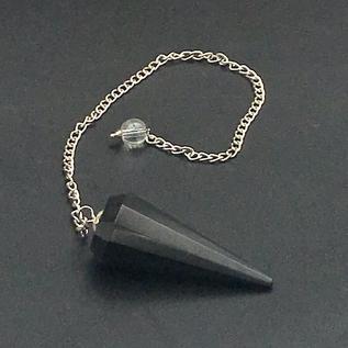OMEN Black Agate 12 Faceted Pendulum
