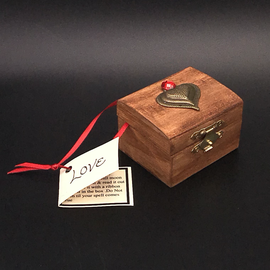 OMEN Wood Stained Love Spell Box with Red Jewel and Heart by Official Salem Witch Laurie Cabot