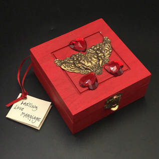 OMEN Wood Stained Love Spell Box with Red Jewels and Cherubs by Official Salem Witch Laurie Cabot