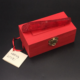 OMEN Wood Stained Love Spell Box with Red Crystal by Official Salem Witch Laurie Cabot
