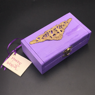OMEN Large Wood Stained Money Spell Box with filigree charm by Official Salem Witch Laurie Cabot