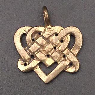 OMEN Celtic Lovers Knotwork Pendant in Bronze
