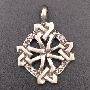 OMEN Square Knotted Celtic Cross Pendant in Sterling Silver
