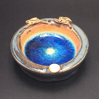 OMEN Ceramic Incense Holder with Blue Glass