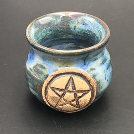 OMEN Little Cauldron Pot in Green with Pentagram
