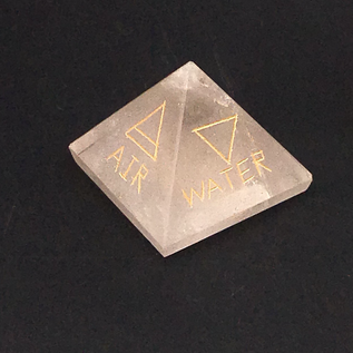 OMEN Quartz Crystal Pyramids Engraved with the 5 Elements