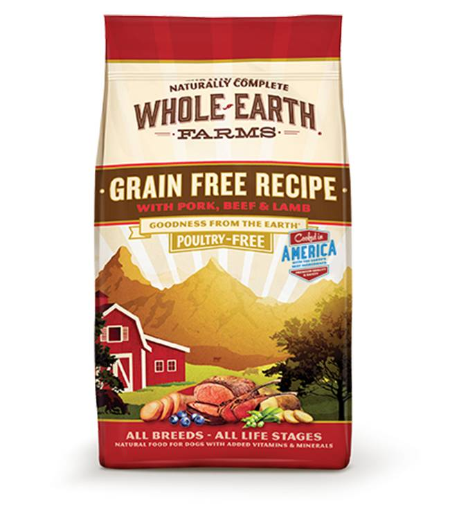Whole Earth Farms Grain Free Recipe with Pork, Beef, and Lamb for all Dog Breeds and Life Stages