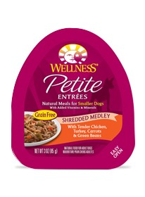 Wellness - Complete Health Wellness Petite Entrees Shreded Medley with Tender Chicken, Turkey, Carrots & Green Beans for Dogs