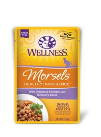 Wellness - Complete Health Wellness Healthy Indulgnece Morsels with Chicken & Chicken Liver in Savory Sauce for Cats