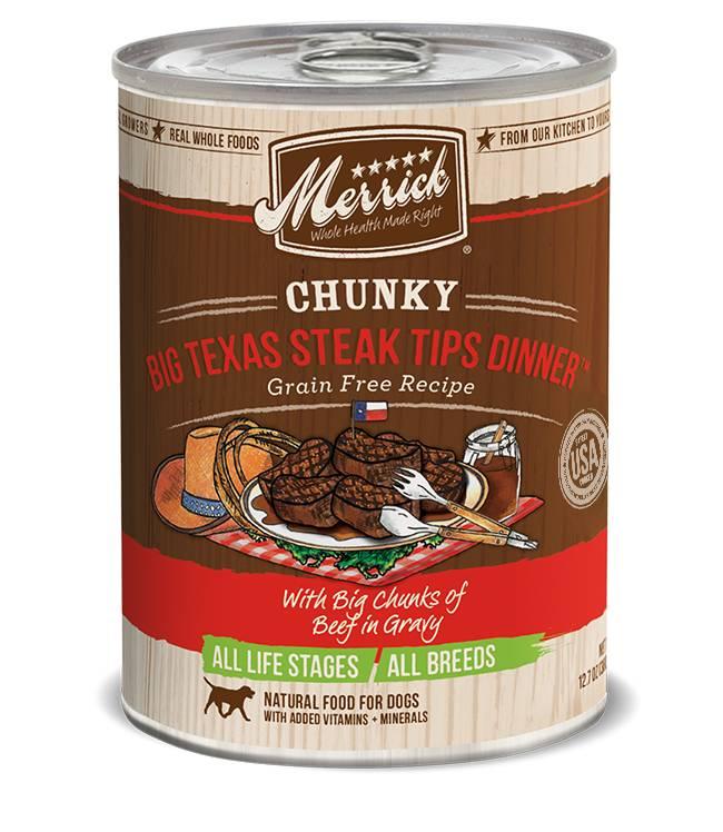 Merrick Merrick Can Dog Food Chunky Big Texas Steak Tips Dinner