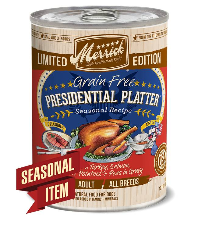 Merrick Merrick Can Dog Holiday Seasonals Presidential Platter