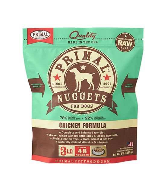 Primal Primal Frozen Raw Dog Food Chicken Nuggets 3 lb.