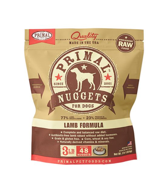 Primal Primal Frozen Raw Dog Food Lamb Nuggets 3 lb.