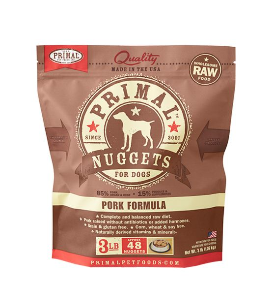 Primal Primal Frozen Raw Dog Food Pork Nuggets 3 lb.