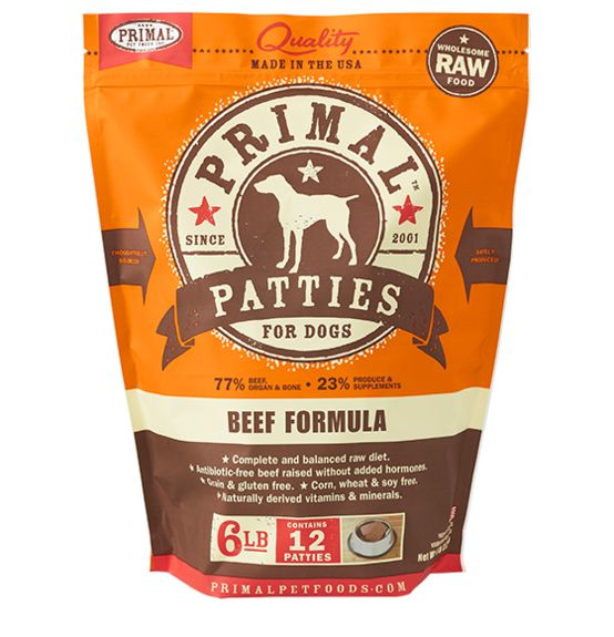 Primal Primal Frozen Raw Dog Food Beef Patties 6 lb.