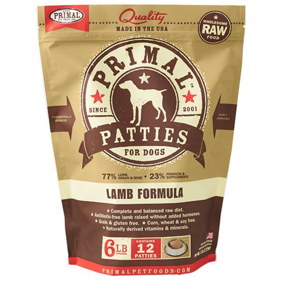 Primal Pimal Frozen Raw Dog Food Lamb Patties 6lb.