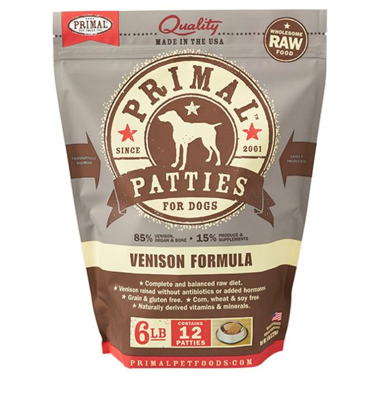 Primal Primal Frozen Raw Dog Food Venison Patties 6 lb.