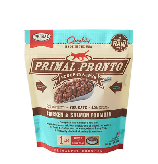 Primal Primal Pronto Frozen Raw Cat Food Chicken Salmon 1 lb.