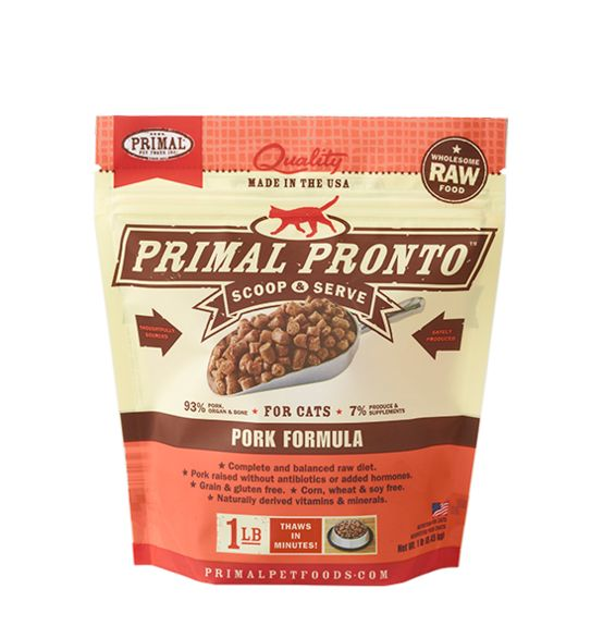 Primal Primal Pronto Frozen Raw Cat Food Pork 1 lb.