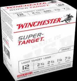 "WINCHESTER WINCHESTER SUPER TARGET 12 GA 2 3/4"" 1 1/8 oz. #7.5 25 RDS"