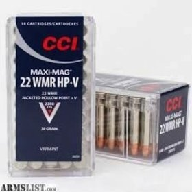 CCI CCI MAXI-MAG 22 WMR HP+V JACKETED HOLLOW POINT V
