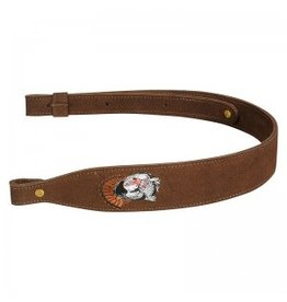 LEVY'S LEATHERS LEVY'S LEATHERS BROWN SUEDE GUN SLING W/ WILD TURKEY EMBROIDERY