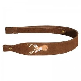 LEVY'S LEATHERS LEVY'S LEATHERS BROWN SUEDE GUN SLING W/ DEER EMBROIDERY