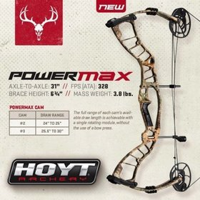HOYT ARCHERY 2016 HOYT POWERMAX PKG 5-PIN SIGHT RH 60# (#3 25.5-30.0) XTRA CW