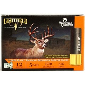 "LIGHTFIELD LIGHTFIELD HYBRED ELITE MAXIMUM EXP 12GA 3"" 546 GR 1 1/4 OZ SABOT SLUGS 5 RDS"