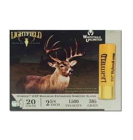 "LIGHTFIELD LIGHTFIELD HYBRED EXP MAXIMUM 20GA 2 3/4"" 385 GR SABOT SLUGS 5 RDS"
