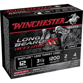 "WINCHESTER WINCHESTER LONG BEARD XR LOK'D &LETHAL 12GA 3.5"" #4 TURKEY LOAD 10 SHELLS"