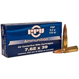 PPU PPU AMMUNITION .34 RIFLE AMMO 7.62 X 39 PSP