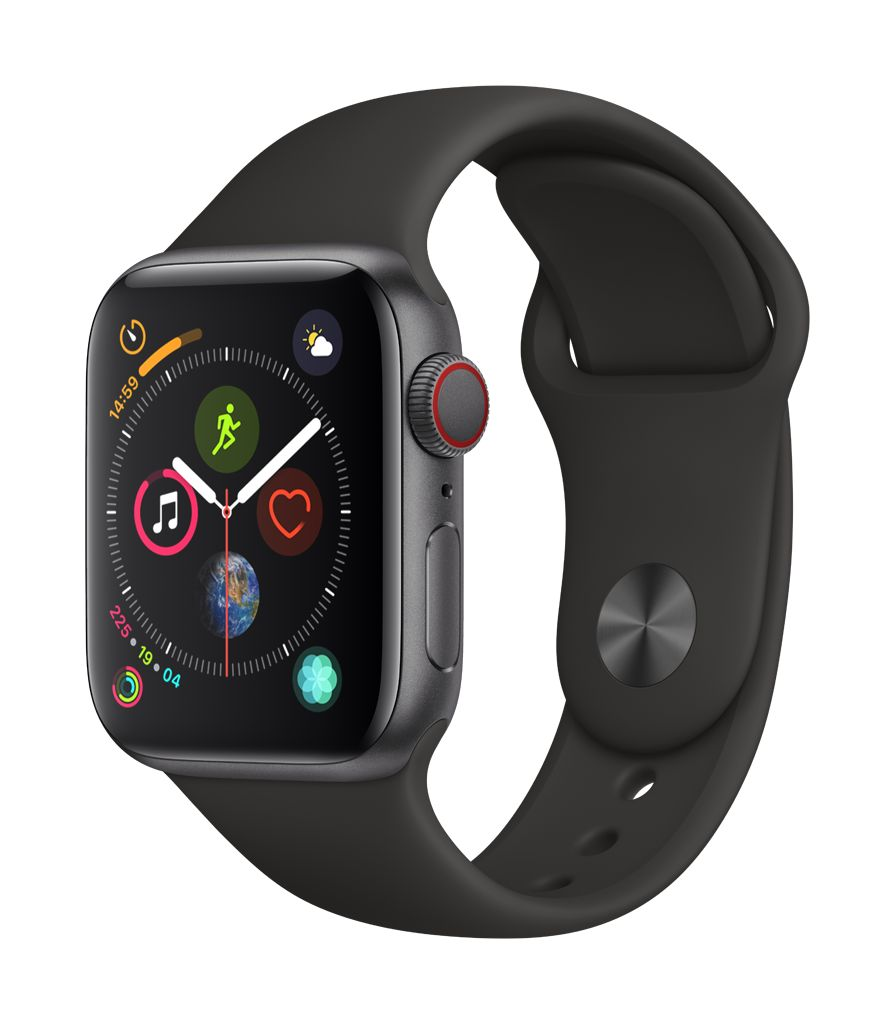 Apple Watch series 4 GPS, 40MM, Space Grey Aluminium Case, Black Sport Band