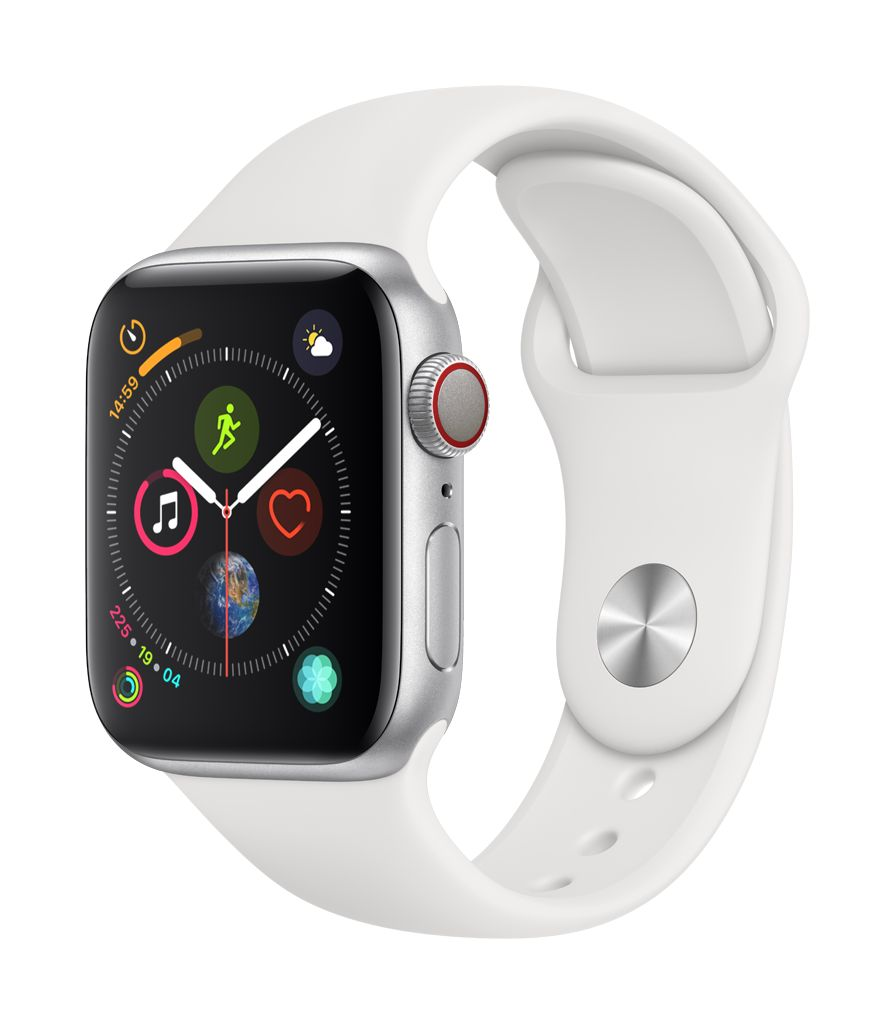 Apple Watch series 4 GPS, 44MM, Silver Aluminium Case, White Sport Band